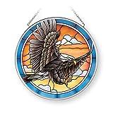 Amia Landing Eagle, Medium Circle Glass Suncatcher, Multicolored