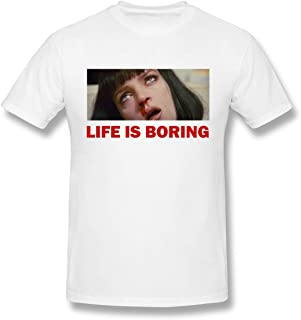 Men's Life is Boring Pulp Fiction Graphic Tee Novelty Short Sleeve T Shirt M White