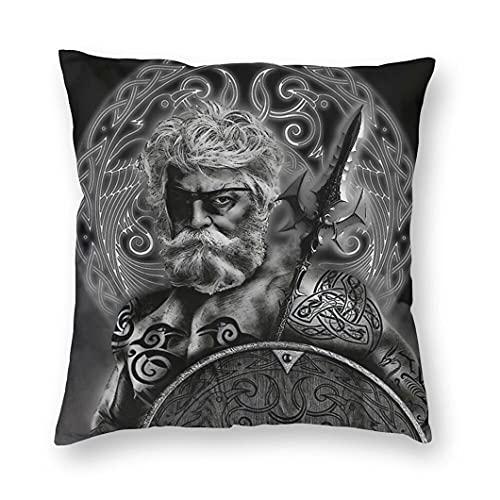 JJLLAZAD Odin Cuscino Case Home Sofà Decor Nordic Fenrir Wolf 3D Stampa Pattern Poliestere Quadrato Throw Pillow Coperture Regalo,Odin's Eyes,20x20Inch