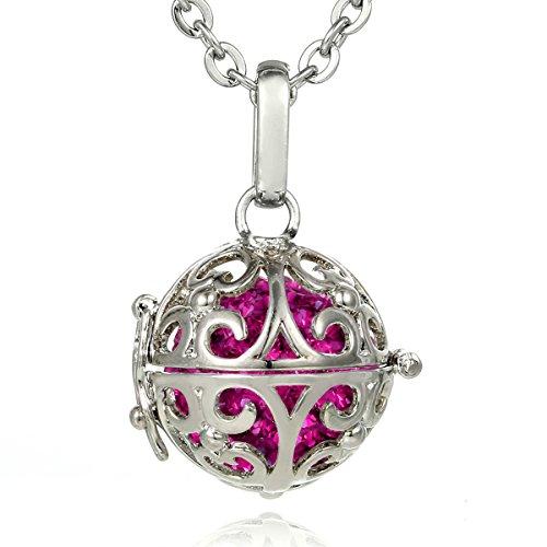 Morella® Damen Halskette Edelstahl 70 cm mit Ornament Anhänger und Klangkugel Zirkonia pink Ø 16 mm in Schmuckbeutel