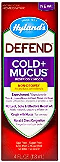 Cold and Cough, Mucus Relief, Decongestant, Defend by Hyland's Homeopathic, Cold Plus Mucus, 4 Fluid Ounce