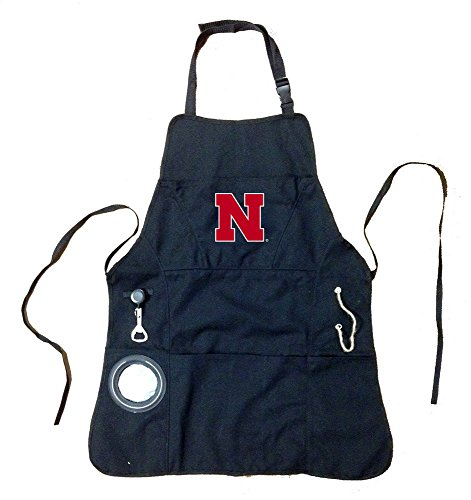 Team Sports America Collegiate University of Nebraska Ultimate Grilling Apron Durable Cotton with Beverage Opener and Multi Tool for Football Fans Fathers Day and More