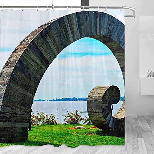 N-E Uruguay Juego de decoración de baño de Viaje para Cortina de Ducha con Ganchos de poliéster 72x72 Pulgadas (6208)