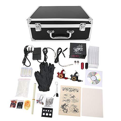 Kit de máquina de tatuaje, conjunto de máquina de tatuaje profesional, con máquinas de tatuaje/todos los accesorios necesarios/maleta, etc, para principiantes/profesionales(Enchufe de la UE)