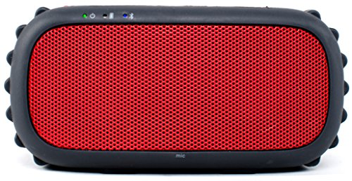 Grace Digital GDI-EGRX607 ECOXGEAR - ECOROX Rugged and Waterproof Wireless Bluetooth Speaker - Retail Packaging - Red