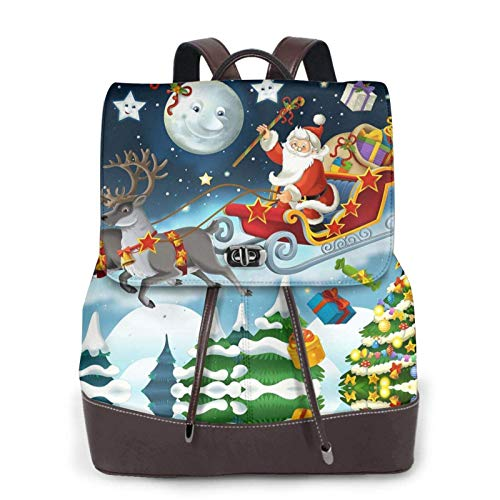 Women's Casual Leather Backpack School Bag,Merry Christmas Santa Claus Reindeer Sled Printed Bookbag Fashion Travel Shoulder Bag