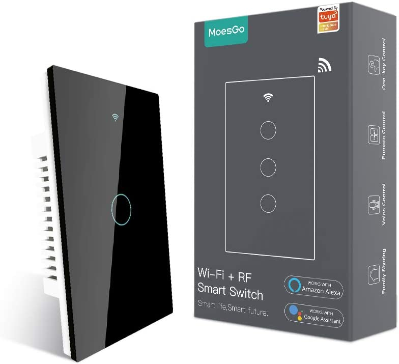 MoesGo WiFi Smart Touch Wall Switch with Single Pole or Multi-Co