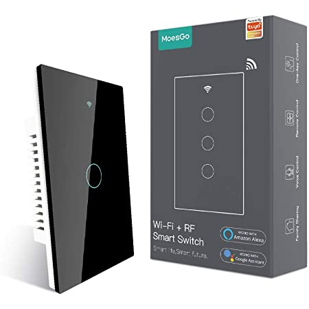 MoesGo WiFi Smart Touch Wall Switch with Single Pole or Multi-Control Association(3 Way), Relay Status Optional,Work with Smart Life/Tuya App,RF433 Remote Control,Alexa and Google Home Black(1 Gang)