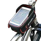LJ sport bicicletta borsa impermeabile bicicletta telaio gerla borsa tubo anteriore bici accessori rompere bar per telefono cellulare inferiore 15,2cm sin, Red piping