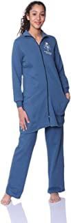 Bella Cotton BCW300 Flower-Print Longline Zip-up Top with Elastic-Waist Pants Pajama Set for Women