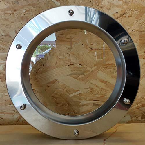 Ojo de buey para puerta de acero inoxidable brillante, 350 mm de diámetro, vidrio transparente, tuercas ciegas