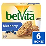 belVita Breakfast Biscuits, Blueberry Flavor, 30 Packs (4 Biscuits Per Pack)