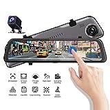 2K HD Dash Cam cámara del coche de 12 pulgadas de pantalla táctil del coche del espejo retrovisor de grabadora de vídeo, de doble lente de grabación simultánea, sensor de reversa de registrador de la