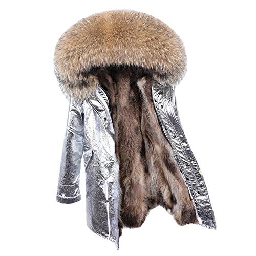 HANTONGHAO Abrigo de cuello de zorro natural real forro de piel de mapache natural chaqueta de invierno Chaqueta larga con capucha gruesa y clida para mujer Parkas - D-51, XXL