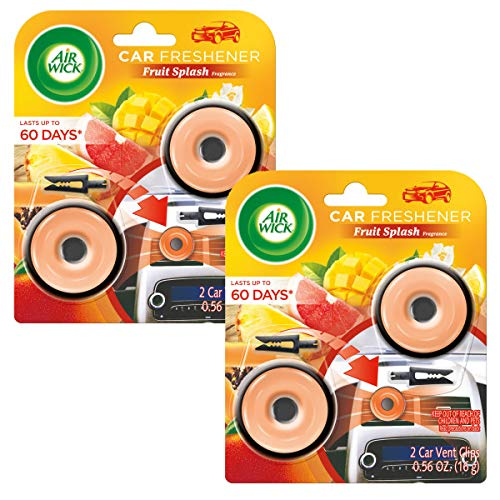 Air Wick Car Air Freshener Dot Vent Clips, Fruit Splash Scent, Odor Neutralization, 4 Count (Pack of 2)