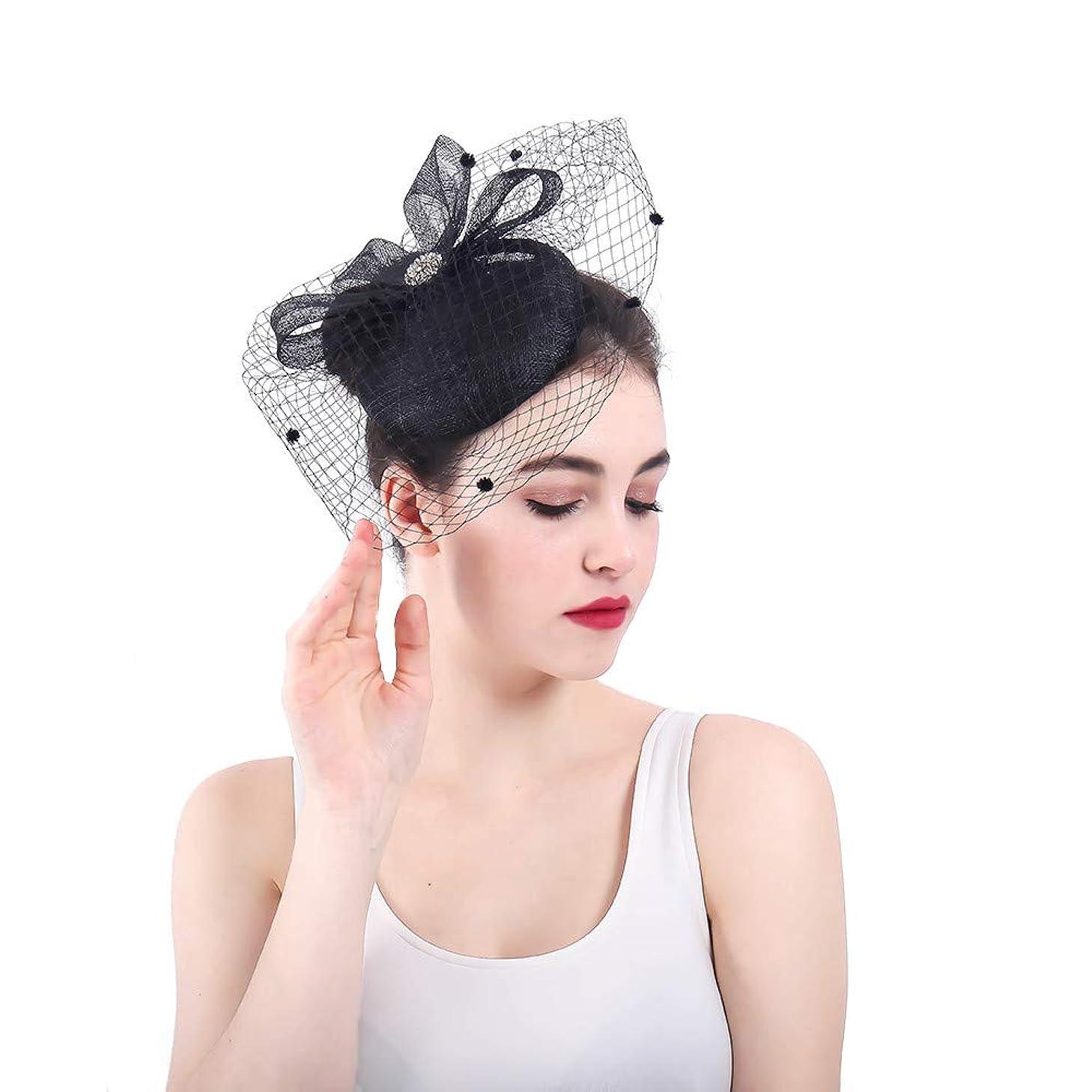 マウスピースディスカウント今日女性の魅力的な帽子 黒頭飾りフラワーハット魅惑的な結婚式の女性の日ツアーロイヤルアスコット