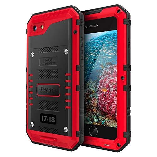 Beeasy Outdoor Case Kompatibel mit iPhone 7/8 SE 2020, Wasserdicht Stoßfest Militärstandard Schutzhülle mit Displayschutz Waterproof Metall Schutz vor Stürzen Stößen Panzer Hülle Handyhülle Rot