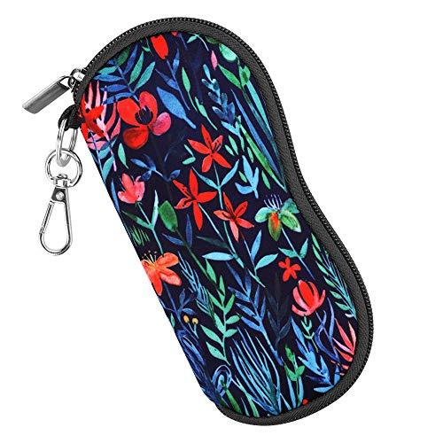 Fintie Brillenetui - [Ultraleicht] Neopren Reißverschluss Sonnenbrille Tasche Kratzfest staubsichere Brillenbox mit Gürtelclip für Schlüssel, Bleistifte, Karten - Dschungelnacht