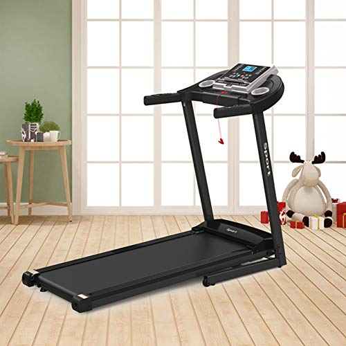 HEQUSigns Folding Electric Treadmill for Home Workout Foldable & Portable Walking/Running Machine with Ipad/Cup Holder MP3 Speakers (Black)