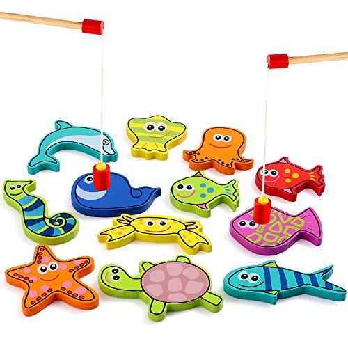 Lewo 12 STÜCKE Angelspiel Holz Magnetische Angelspiel Magnet Eingebaute Angelspielzeug Lernspielzeug für 2 3 4 Jahre Kleinkind Jungen Mädchen Kinder