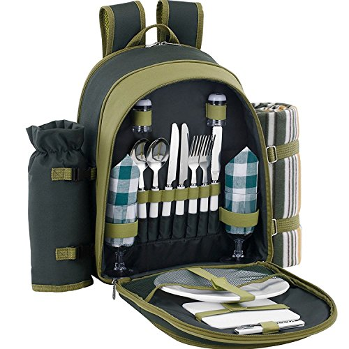 ALLCAMP Picnic Backpack for 2 with Cooler Compartment & Fleece Blanket and Tableware (Green)