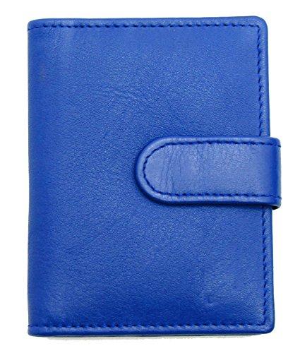 RAS® Echtes Weiches Leder Kreditkartenhalter Brieftasche - 20 Klare Plastiktaschen - 4 Weitere Kartensteckplätze - Knopfverschluss #602 (Blau)