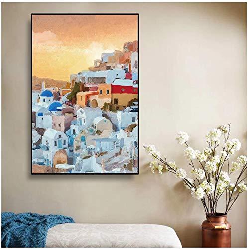 cuadros decoracion salon Resumen nórdico Grecia Santorini Vistas al mar Egeo Pintura Arte de la pared Cuadro Impresión en lienzo Póster Sala de estar Decoración de la habitación de los niños 1