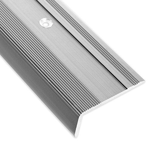 Treppenkantenprofil Glory | silber | L-Form | inklusive rutschhemmender Vinyl-Einlage | 17mm Höhe | Erhältlich in 4 Farben und 3 Längen (100cm)