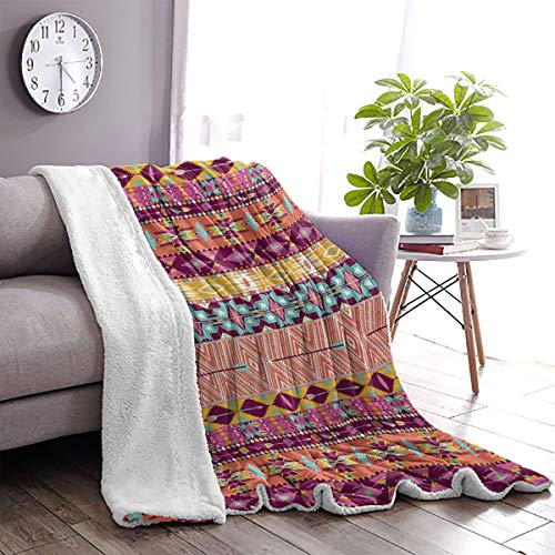 LanQiao Aztec Sofa Cashmere Blanket Colorful Cultural Art Borders Vintage Figures Abstract Rich Motifs Mayan Mexican 63'x87' Multicolor
