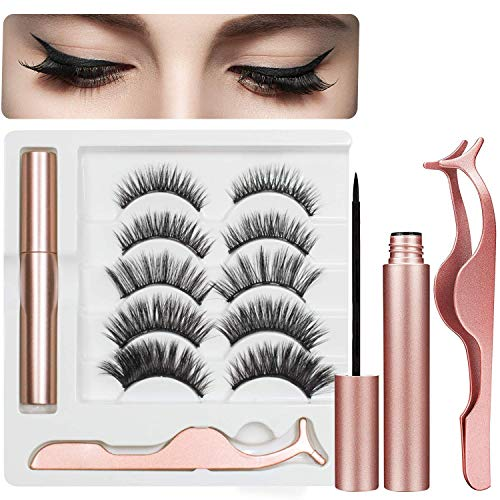 Best Magnetic Eyelashes and Eyeliner Kit, 5 Pairs of Natural Soft False Eyelashes with Waterproof Texture And Delicate Smooth Eyeliner,Easy to Wear and Reusable
