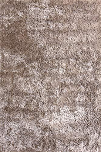 Moderner Teppich Delight Taupe 200x290cm - edler Designer Teppich mit flauschig weichem Flor