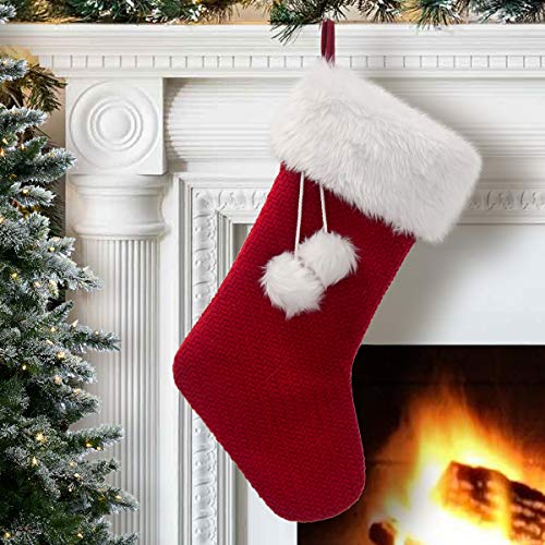 Scarlet Knitted Christmas Stocking with White Plush Cuff and Pompom
