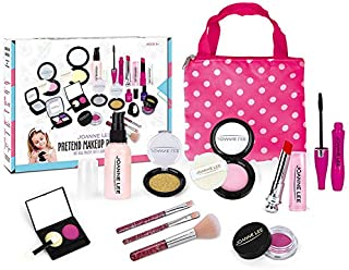 Girls Pretend Play Makeup Sets Fake Make Up Kits with Cosmetic Bag Toy for Little Girls Play Game Halloween Christmas Birt...