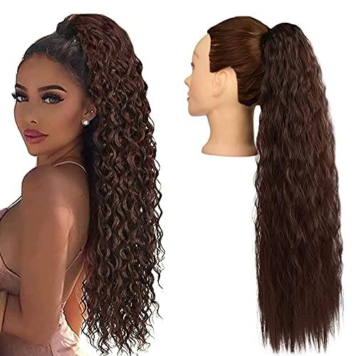 2 pezzi 28 pollici marrone scuro coulisse ricci coda di cavallo estensione dei capelli lunga coda di cavallo estensioni sintetiche coda di cavallo estensioni dei capelli parrucchino per le donne