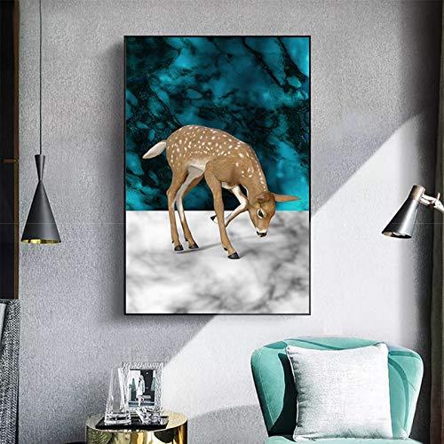 ganlanshu Rahmenlose Malerei Kunst Hirsch Giraffe Tierbild Leinwand Malerei Wandbild Wohnzimmer Schlafzimmer Moderne dekorative MalereiZGQ6001 40X60cm