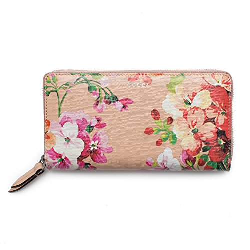 Gucci Shanghai St Beige Blooms portafolios Continental de Piel de Albaricoque