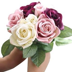 Auwer 9 Heads Premium Artificial Rose Silk Flowers Real Touch Bouquet Spring Emulation Simulation Floral Arrangements Bridal Home Decoration Garden Office Wedding Party Decor