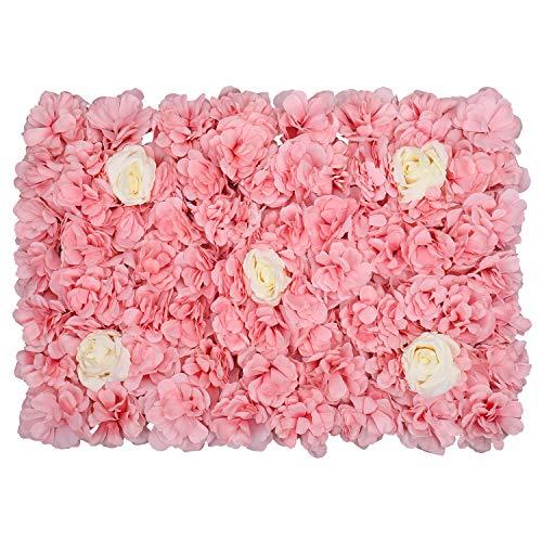 WedDecor Artificiel Faux Fleur Blanc avec Velours Rose Rose Hortensia Panneau Mural pour Arrière Gouttes Arrière-Plan, Marriage Venue, Décoration pour Fête, Fleur Pilier - 60 X 20cm