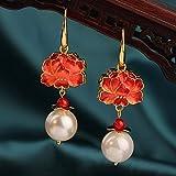 SALAN Pendientes De Gancho De Rosas Cloisonne Largos Vintage, Colgante De Flor Roja Delicada Étnica, Pendientes Colgantes, Joyería...