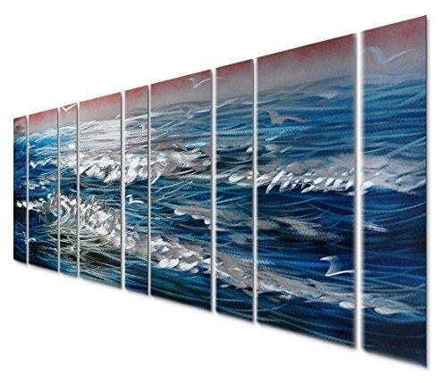 Pure Art Sapphire Blue Sea Ocean Waves Metal Wall Art Decor – Set of 6 Panels, Blue Nautical Beach, Large (65″ x 24″)