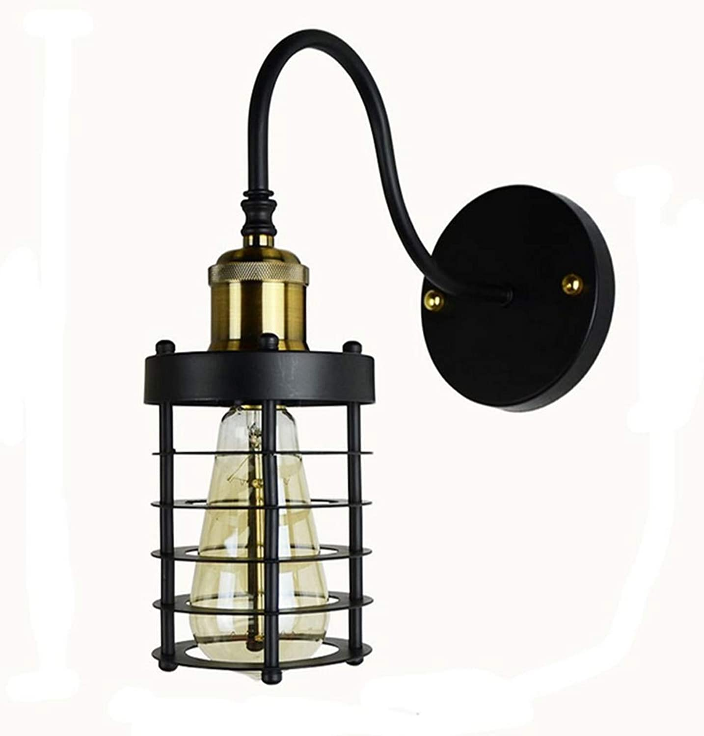 Lichtretro Iron Cage Wall Light Metal Cage Frame Classic Vintage Decorative Lamp E27 Lamp Head