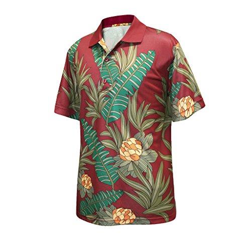 Monterey Club Mens Dry Swing Vintage Hawaiian Print Polo Shirt #1599 (Dark Claret/Green, Large)