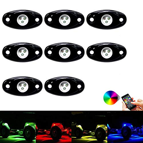 OPP ULITE RGB Led Rock Lights Kit 8 Pods Rock Light Bluetooth Control 14 Colors DIY 15 Turning Timing Music Flashing Neon Led Interior Lights for Je-ep UTV Offroad Truck SUV ATV Motorcycle (8pods)