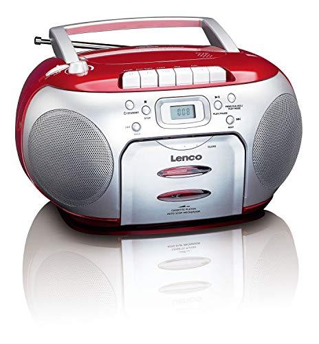 Lenco SCD-420RD Tragbares UKW-Radio mit Toplader CD-Spieler und Kassettendeck, LCD Display, Wiederholungsfunktion, Auto-Stopp, Kopfhöreranschluss