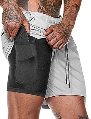 Bibowa Men Jogging Short Pants Training Workout Short Excercise Gym Shorts Light Gray