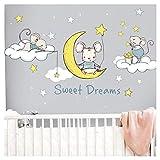 Little Deco Wandaufkleber Maus auf Mond und Sterne I Wandbild M - 113 x 60 cm (BxH) I Wolken Sticker Wandbilder Baby Wandtattoo Kinderzimmer Babyzimmer Kind DL300