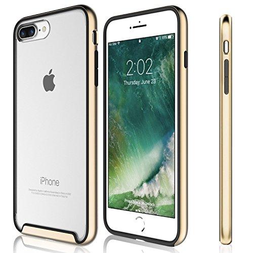 Funda iPhone 8 Plus, iPhone 7 Plus - KHOMO Carcasa Transparente Triple Protección con Borde Bumper Case de Colores Antichoque para el Nuevo Apple iPhone 8 Plus - Dorado