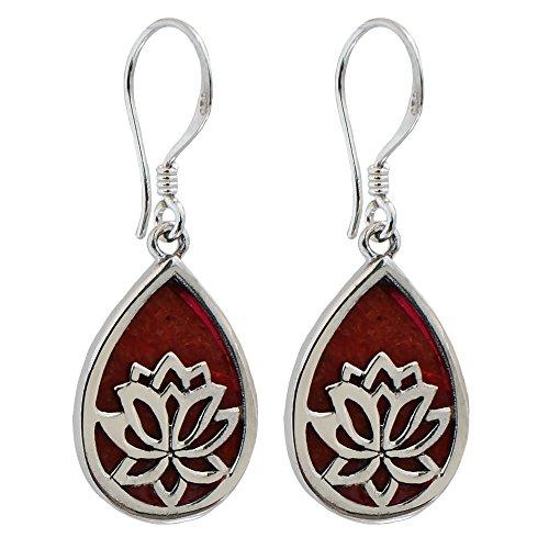 I-be, Coral Pendientes de gota con flor de loto, plata 925, 394704 Lotus