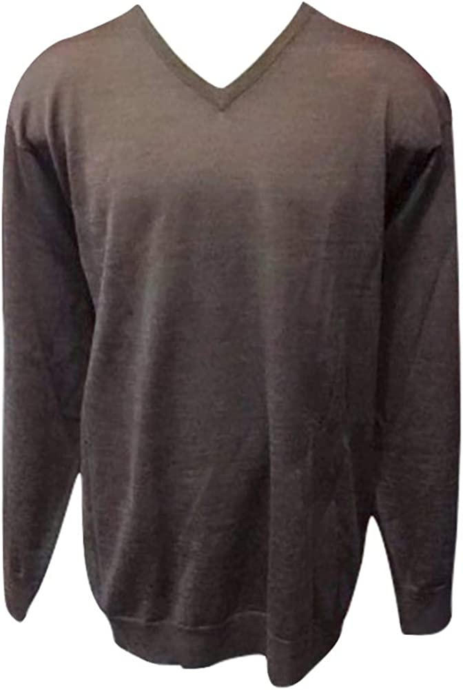 Big and Tall Wool Blend Brown Italian Styled V-Neck Sweater