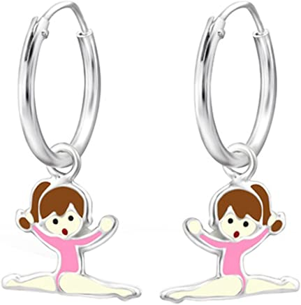 d53724747 So Chic Jewels - Children s 925 Sterling Silver Gymnastics Girl Earrings  Epoxy Color